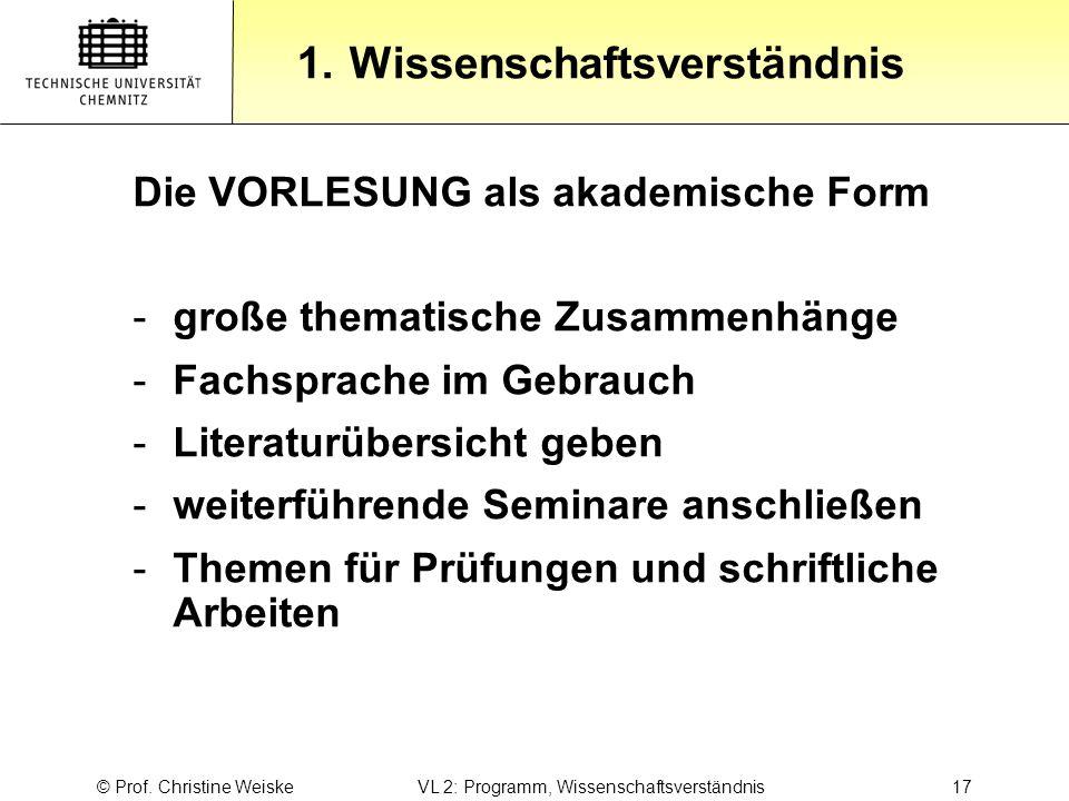 Gliederung 1.Wissenschaftsverständnis © Prof. Christine Weiske VL 2: Programm, Wissenschaftsverständnis 17 Die VORLESUNG als akademische Form -große t