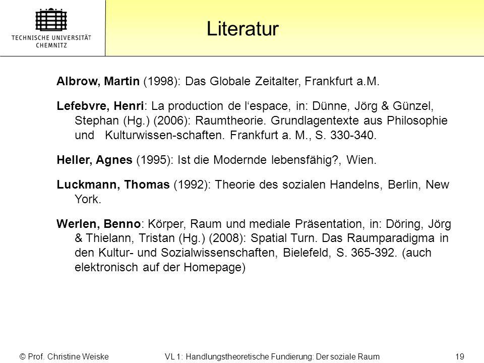 Gliederung Literatur © Prof. Christine Weiske VL 1: Handlungstheoretische Fundierung: Der soziale Raum 19 Albrow, Martin (1998): Das Globale Zeitalter