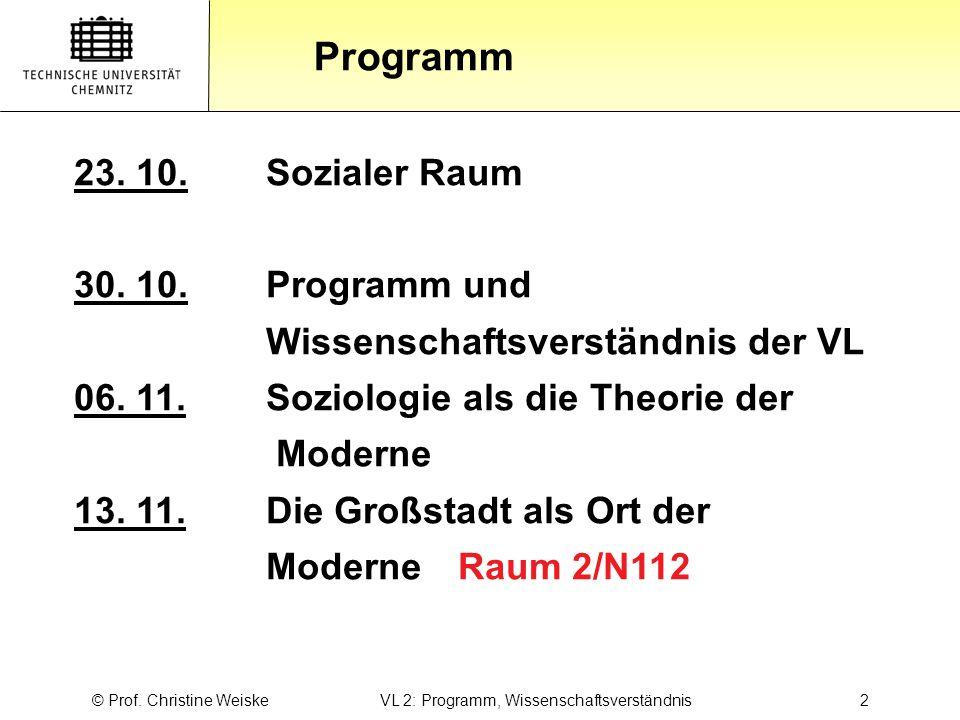 Gliederung Programm © Prof. Christine Weiske VL 2: Programm, Wissenschaftsverständnis2 23. 10.Sozialer Raum 30. 10.Programm und Wissenschaftsverständn
