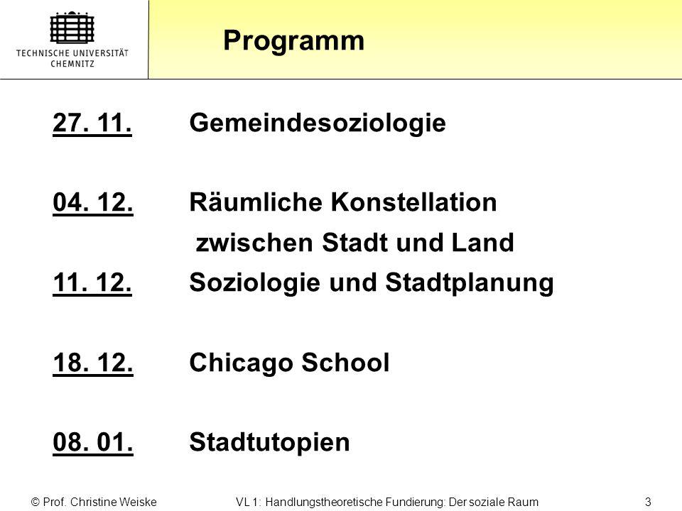 Gliederung Programm © Prof. Christine Weiske VL 1: Handlungstheoretische Fundierung: Der soziale Raum 3 27. 11.Gemeindesoziologie 04. 12.Räumliche Kon