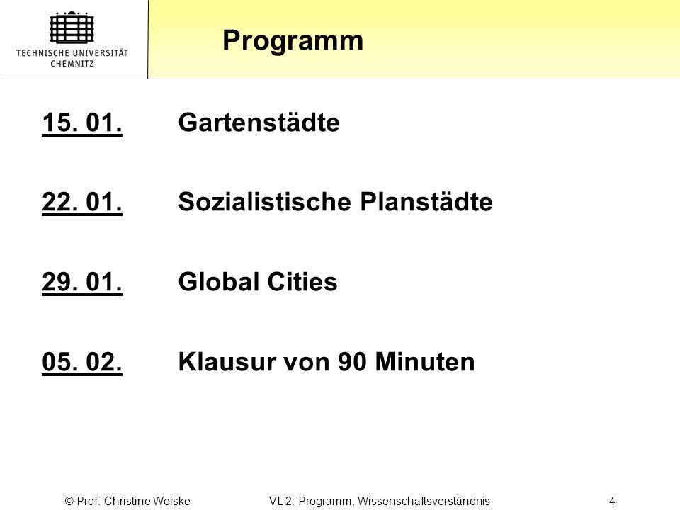 Gliederung Programm © Prof. Christine Weiske VL 2: Programm, Wissenschaftsverständnis 4 15. 01.Gartenstädte 22. 01.Sozialistische Planstädte 29. 01.Gl