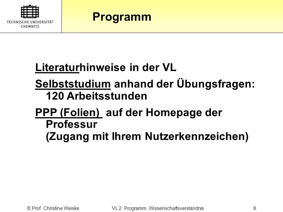 Gliederung Programm © Prof. Christine Weiske VL 2: Programm, Wissenschaftsverständnis 6 Literaturhinweise in der VL Selbststudium anhand der Übungsfra