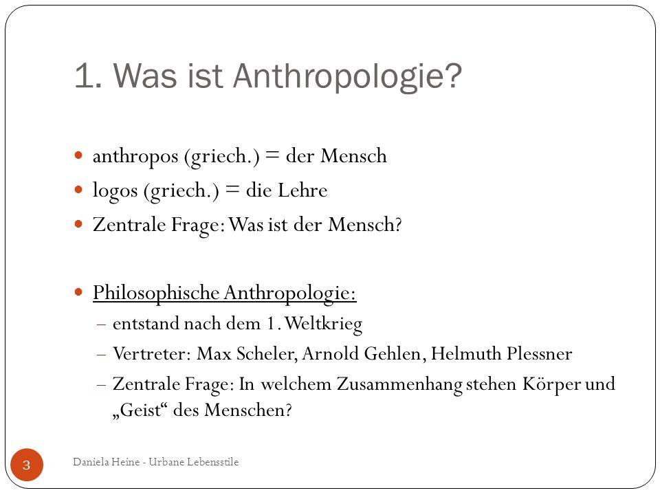 1. Was ist Anthropologie? anthropos (griech.) = der Mensch logos (griech.) = die Lehre Zentrale Frage: Was ist der Mensch? Philosophische Anthropologi