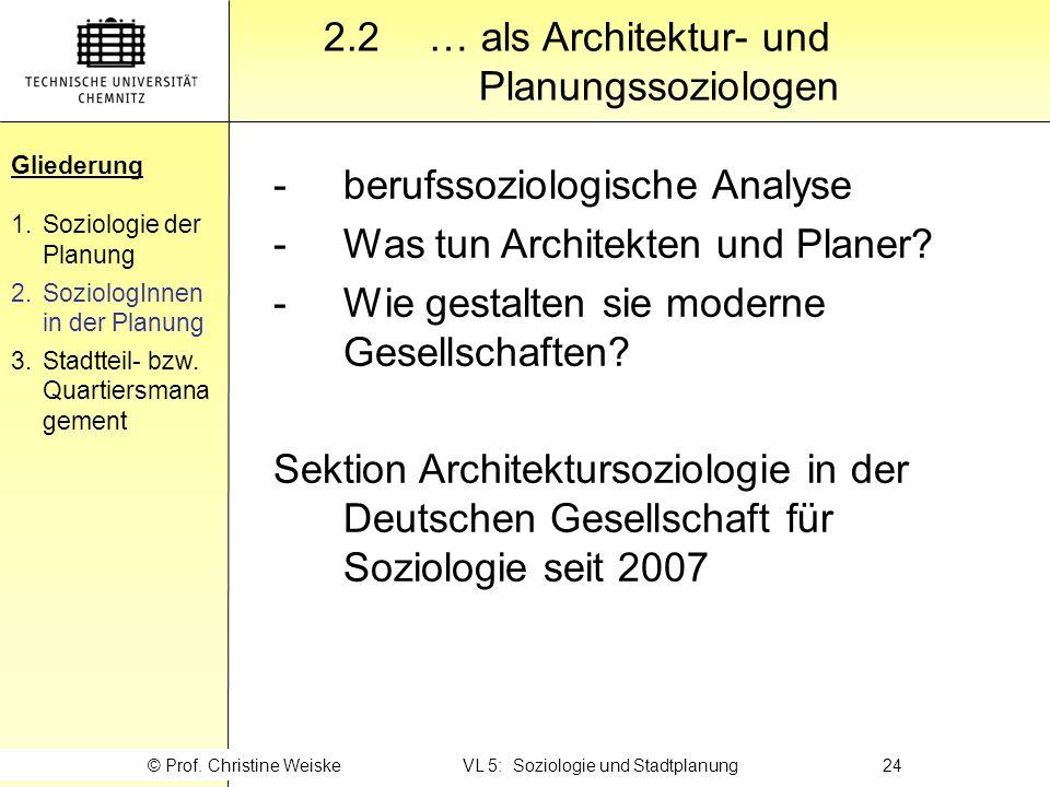 Gliederung 2.2… als Architektur- und Planungssoziologen Gliederung 1.Soziologie der Planung 2.SoziologInnen in der Planung 3.Stadtteil- bzw. Quartiers