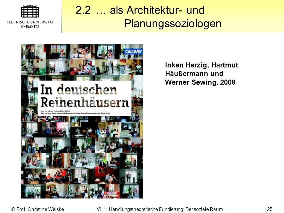 Gliederung 2.2 … als Architektur- und Planungssoziologen © Prof. Christine Weiske VL 1: Handlungstheoretische Fundierung: Der soziale Raum 25 Inken He
