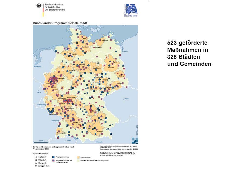 Gliederung 523 geförderte Maßnahmen in 328 Städten und Gemeinden