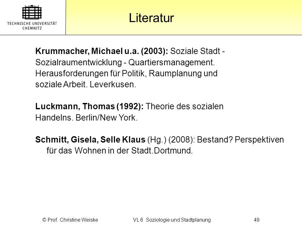 Gliederung Literatur © Prof. Christine Weiske VL 6 Soziologie und Stadtplanung49 Krummacher, Michael u.a. (2003): Soziale Stadt - Sozialraumentwicklun
