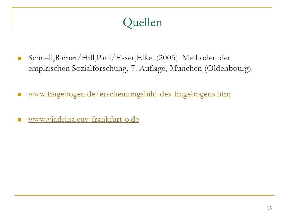 18 Quellen Schnell,Rainer/Hill,Paul/Esser,Elke: (2005): Methoden der empirischen Sozialforschung, 7. Auflage, München (Oldenbourg). www.fragebogen.de/