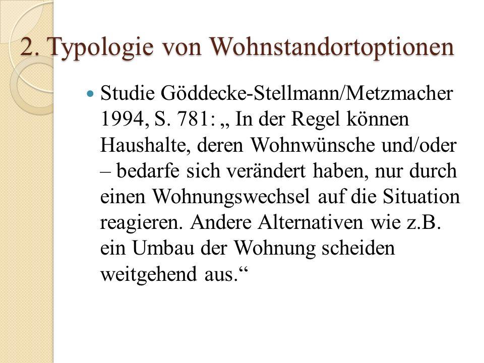 2. Typologie von Wohnstandortoptionen Studie Göddecke-Stellmann/Metzmacher 1994, S. 781: In der Regel können Haushalte, deren Wohnwünsche und/oder – b