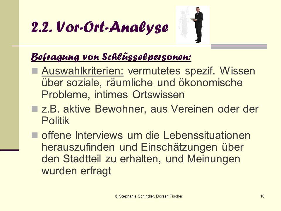 © Stephanie Schindler, Doreen Fischer10 2.2. Vor-Ort-Analyse Befragung von Schlüsselpersonen: Auswahlkriterien: vermutetes spezif. Wissen über soziale