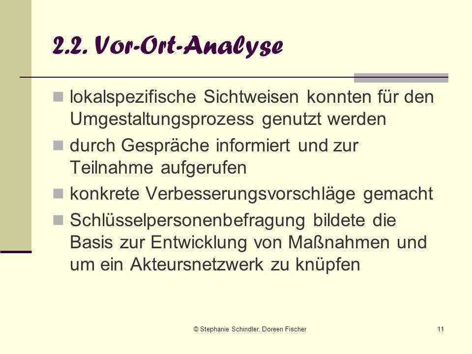 © Stephanie Schindler, Doreen Fischer11 2.2. Vor-Ort-Analyse lokalspezifische Sichtweisen konnten für den Umgestaltungsprozess genutzt werden durch Ge