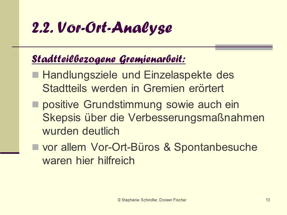 © Stephanie Schindler, Doreen Fischer13 2.2. Vor-Ort-Analyse Stadtteilbezogene Gremienarbeit: Handlungsziele und Einzelaspekte des Stadtteils werden i