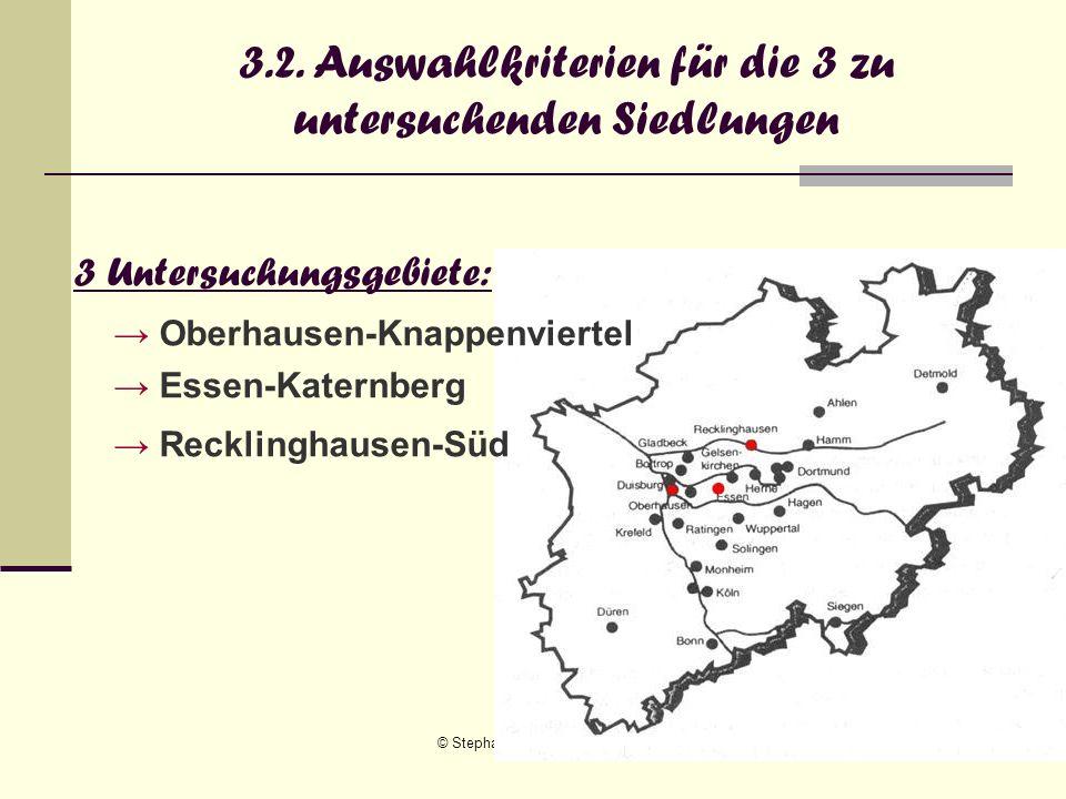 © Stephanie Schindler, Doreen Fischer18 3.2. Auswahlkriterien für die 3 zu untersuchenden Siedlungen 3 Untersuchungsgebiete: Oberhausen-Knappenviertel