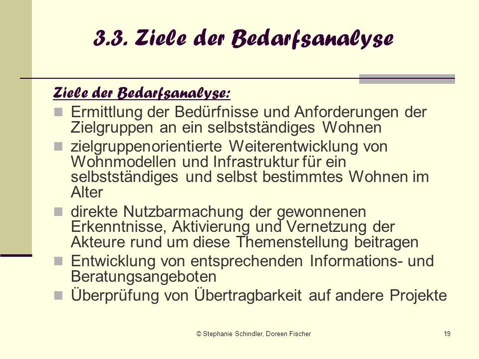 © Stephanie Schindler, Doreen Fischer19 3.3. Ziele der Bedarfsanalyse Ziele der Bedarfsanalyse: Ermittlung der Bedürfnisse und Anforderungen der Zielg