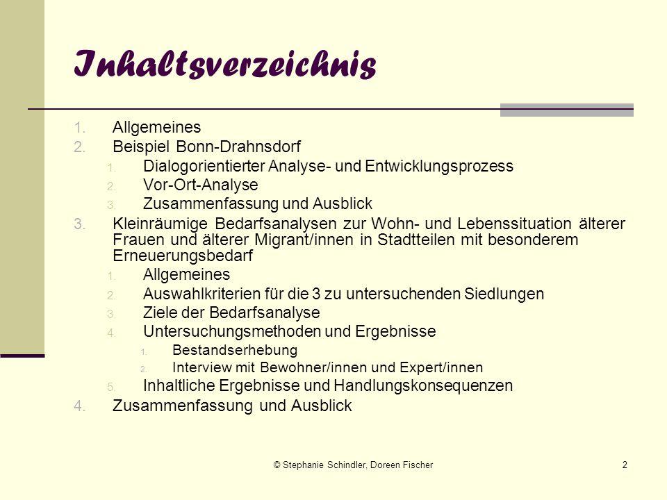 © Stephanie Schindler, Doreen Fischer2 Inhaltsverzeichnis 1. Allgemeines 2. Beispiel Bonn-Drahnsdorf 1. Dialogorientierter Analyse- und Entwicklungspr