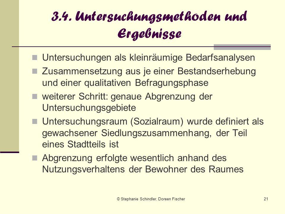 © Stephanie Schindler, Doreen Fischer21 3.4. Untersuchungsmethoden und Ergebnisse Untersuchungen als kleinräumige Bedarfsanalysen Zusammensetzung aus