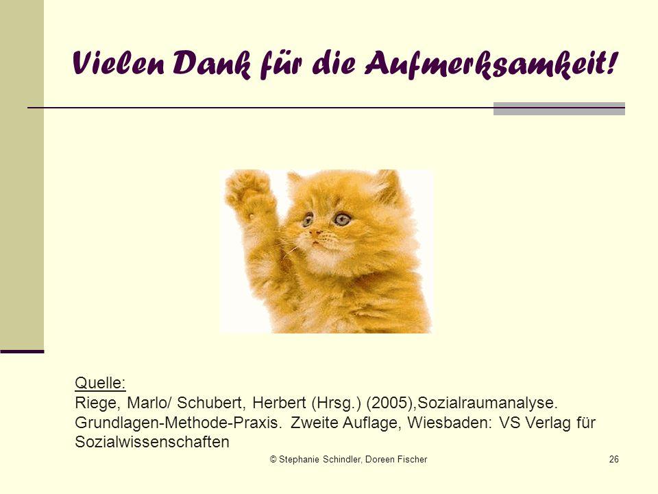 © Stephanie Schindler, Doreen Fischer26 Vielen Dank für die Aufmerksamkeit! Quelle: Riege, Marlo/ Schubert, Herbert (Hrsg.) (2005),Sozialraumanalyse.