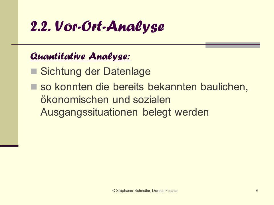 © Stephanie Schindler, Doreen Fischer9 2.2. Vor-Ort-Analyse Quantitative Analyse: Sichtung der Datenlage so konnten die bereits bekannten baulichen, ö