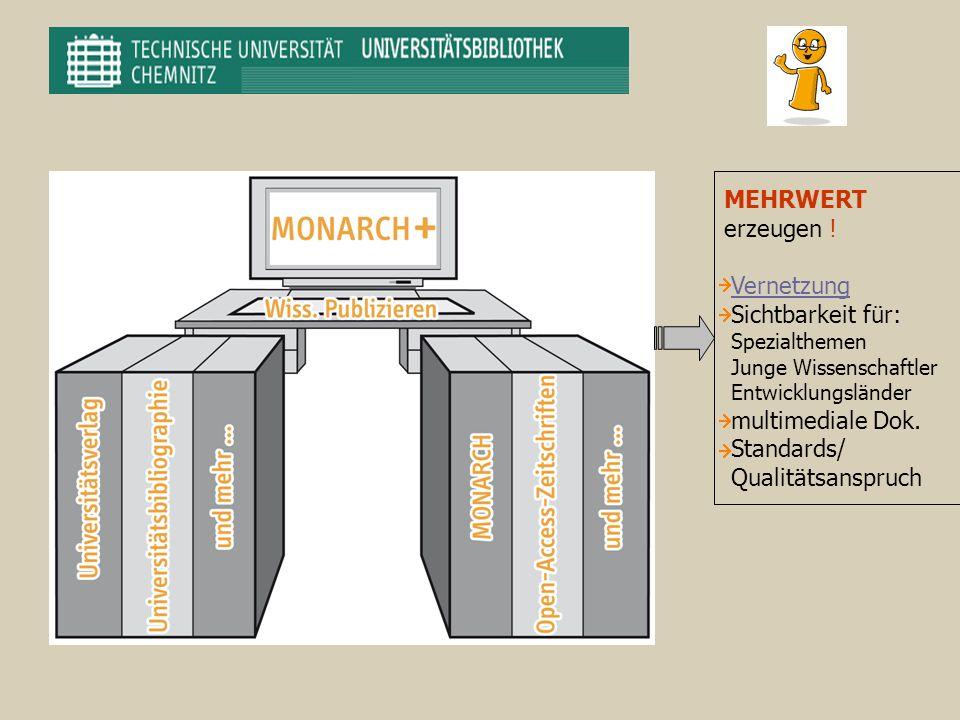 MEHRWERT erzeugen ! Vernetzung Sichtbarkeit für: Spezialthemen Junge Wissenschaftler Entwicklungsländer multimediale Dok. Standards/ Qualitätsanspruch