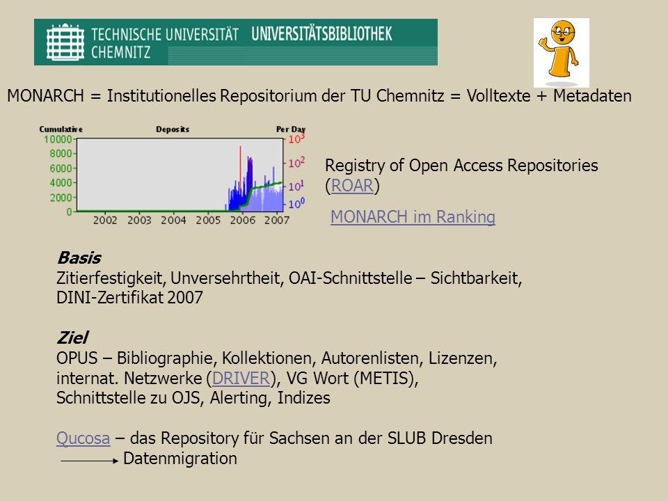 MONARCH = Institutionelles Repositorium der TU Chemnitz = Volltexte + Metadaten Basis Zitierfestigkeit, Unversehrtheit, OAI-Schnittstelle – Sichtbarke