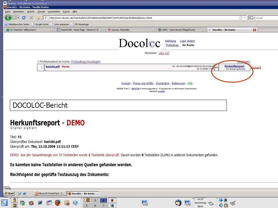 DOCOLOC-Bericht
