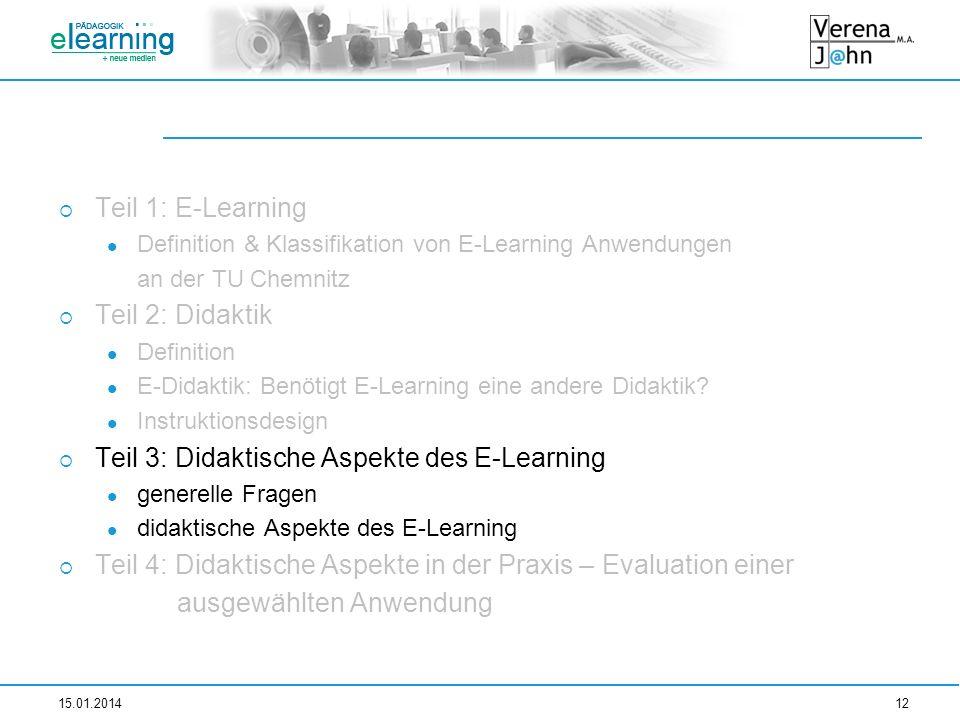 Teil 1: E-Learning Definition & Klassifikation von E-Learning Anwendungen an der TU Chemnitz Teil 2: Didaktik Definition E-Didaktik: Benötigt E-Learni