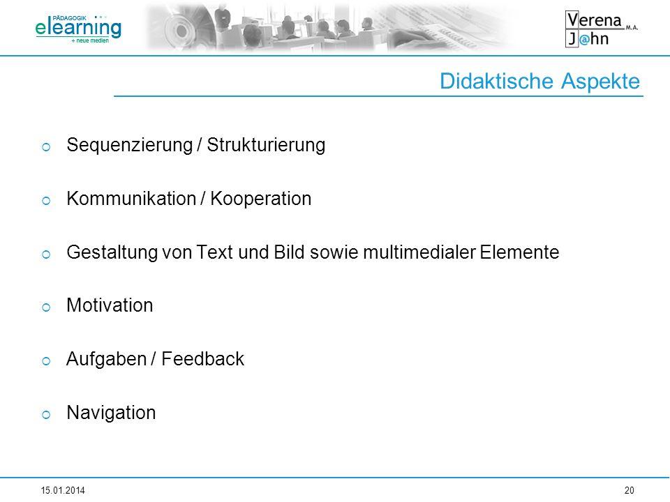 Didaktische Aspekte Sequenzierung / Strukturierung Kommunikation / Kooperation Gestaltung von Text und Bild sowie multimedialer Elemente Motivation Au