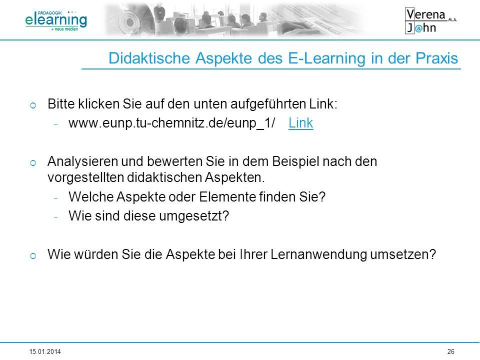 Didaktische Aspekte des E-Learning in der Praxis Bitte klicken Sie auf den unten aufgeführten Link: www.eunp.tu-chemnitz.de/eunp_1/ LinkLink Analysier