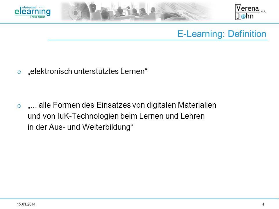 E-Learning: Definition elektronisch unterstütztes Lernen... alle Formen des Einsatzes von digitalen Materialien und von IuK-Technologien beim Lernen u