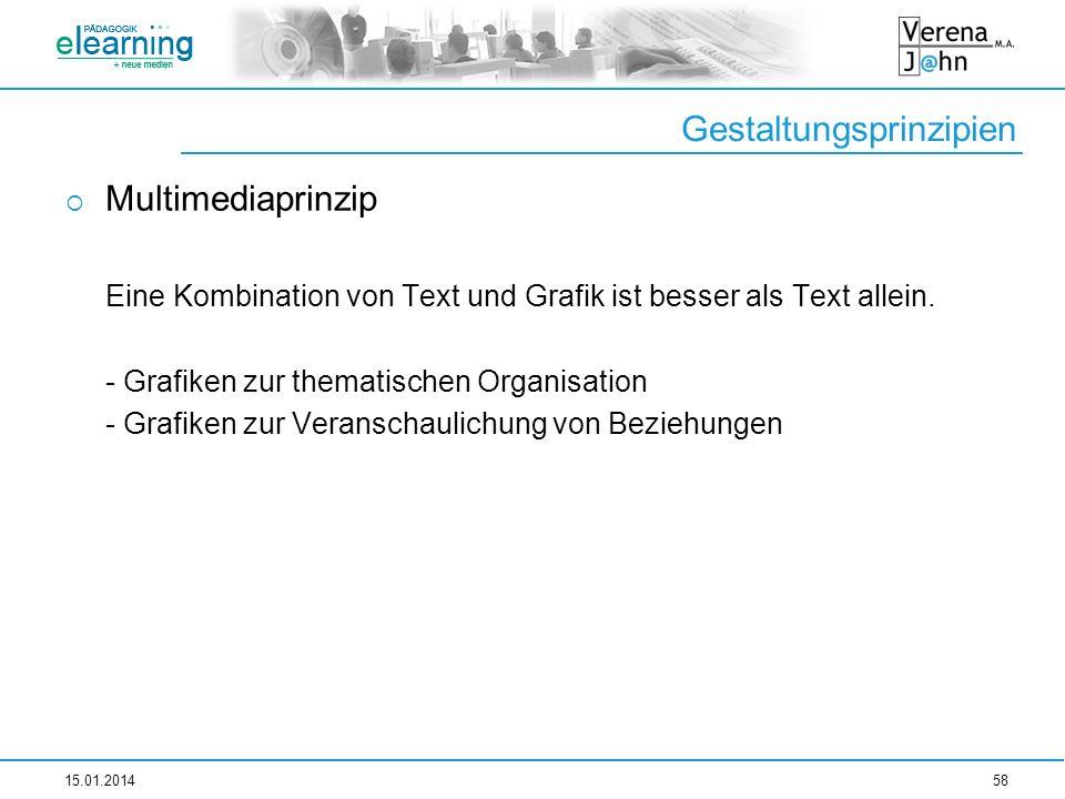 Gestaltungsprinzipien Multimediaprinzip Eine Kombination von Text und Grafik ist besser als Text allein. - Grafiken zur thematischen Organisation - Gr