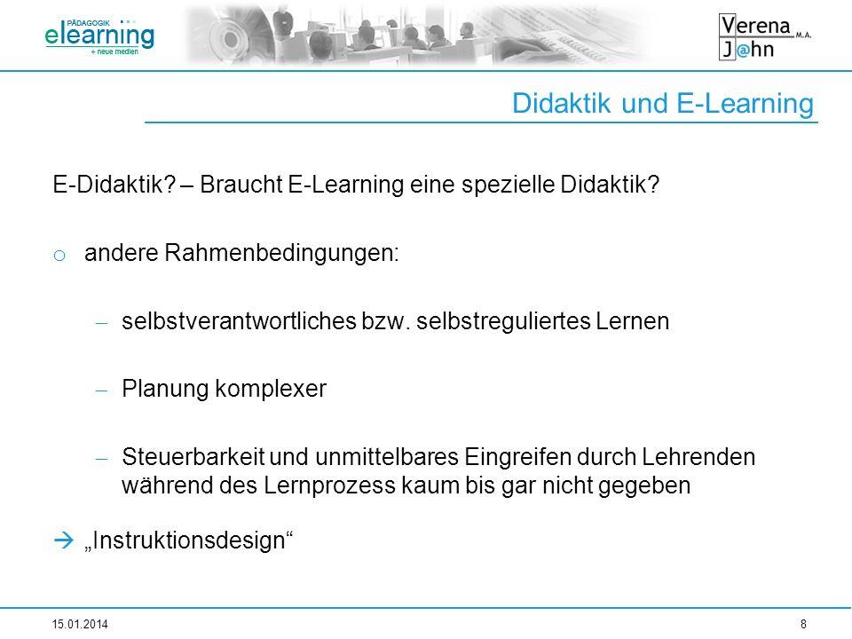 Didaktik und E-Learning E-Didaktik? – Braucht E-Learning eine spezielle Didaktik? o andere Rahmenbedingungen: selbstverantwortliches bzw. selbstreguli