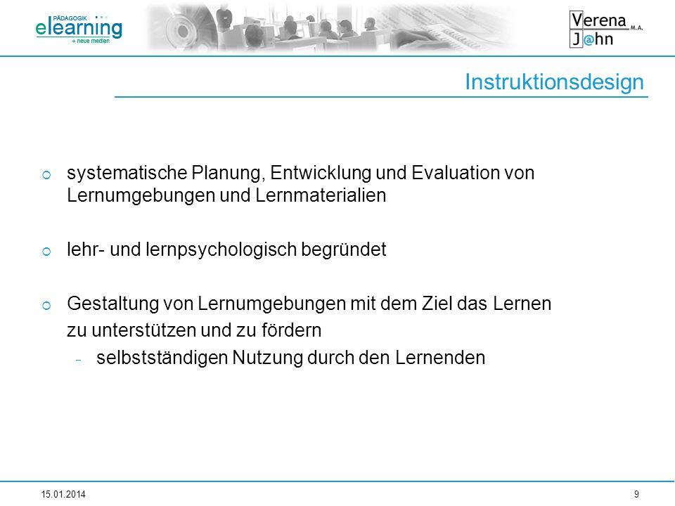 Instruktionsdesign systematische Planung, Entwicklung und Evaluation von Lernumgebungen und Lernmaterialien lehr- und lernpsychologisch begründet Gest