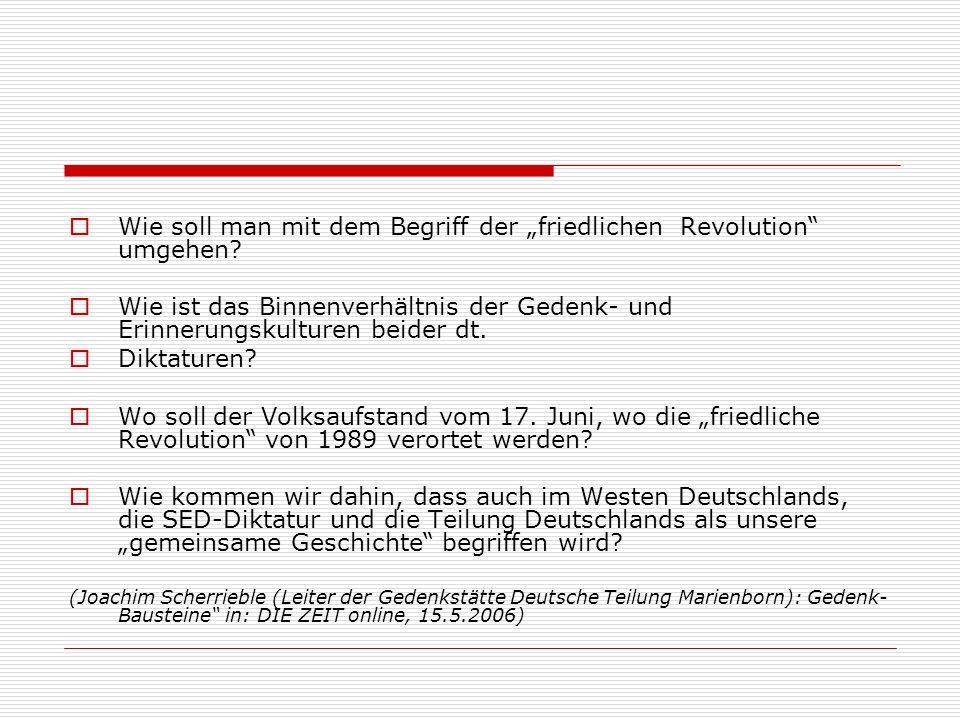 Wie soll man mit dem Begriff der friedlichen Revolution umgehen.