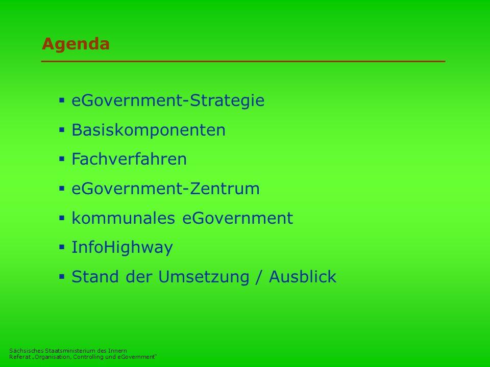 Sächsisches Staatsministerium des Innern Referat Organisation, Controlling und eGovernment Agenda eGovernment-Strategie Basiskomponenten Fachverfahren