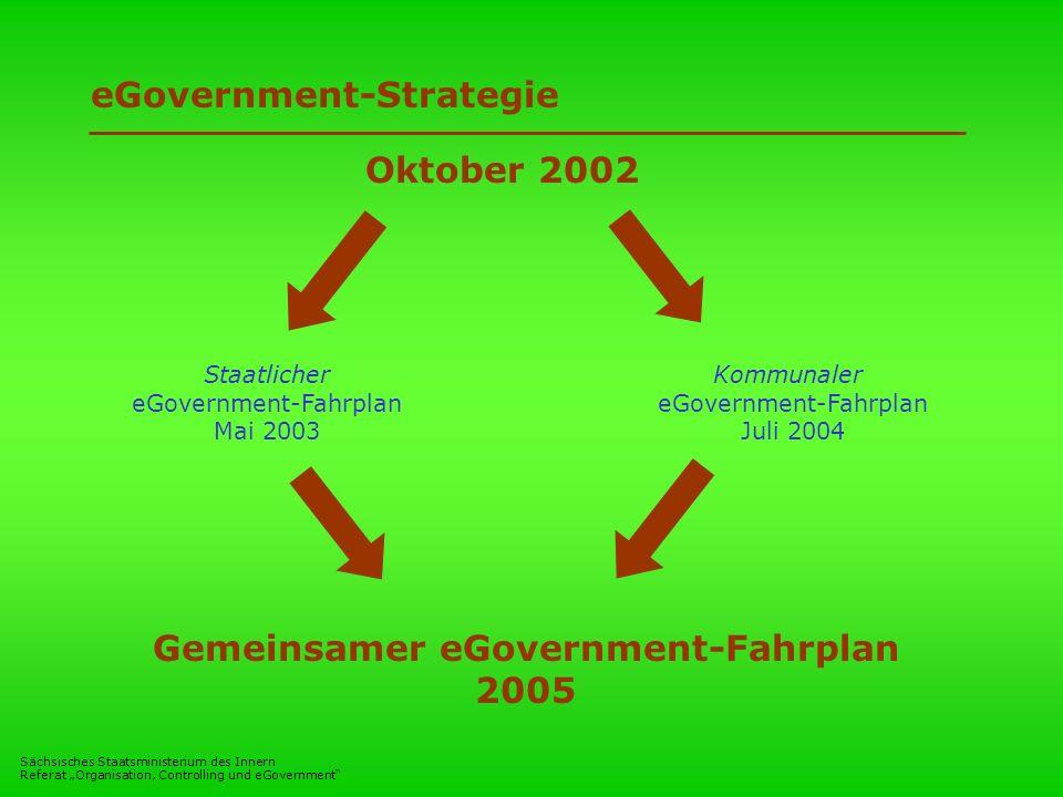 Sächsisches Staatsministerium des Innern Referat Organisation, Controlling und eGovernment eGovernment-Strategie Staatlicher eGovernment-Fahrplan Mai