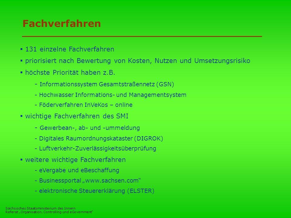 Sächsisches Staatsministerium des Innern Referat Organisation, Controlling und eGovernment Fachverfahren 131 einzelne Fachverfahren priorisiert nach B