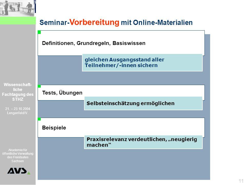 Wissenschaft- liche Fachtagung des STHZ 21. – 23.10.2004 Lengenfeld/V. Akademie für öffentliche Verwaltung des Freistaates Sachsen 11 Definitionen, Gr