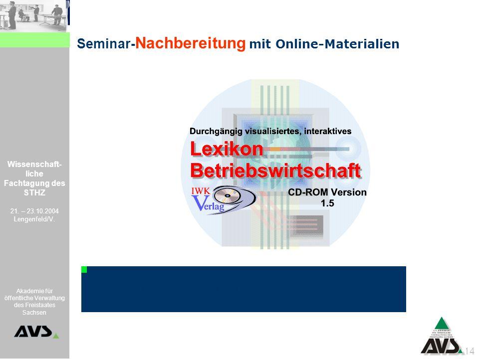 Wissenschaft- liche Fachtagung des STHZ 21. – 23.10.2004 Lengenfeld/V. Akademie für öffentliche Verwaltung des Freistaates Sachsen 14 Seminar- Nachber
