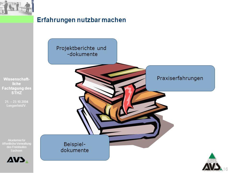 Wissenschaft- liche Fachtagung des STHZ 21. – 23.10.2004 Lengenfeld/V. Akademie für öffentliche Verwaltung des Freistaates Sachsen 16 Erfahrungen nutz