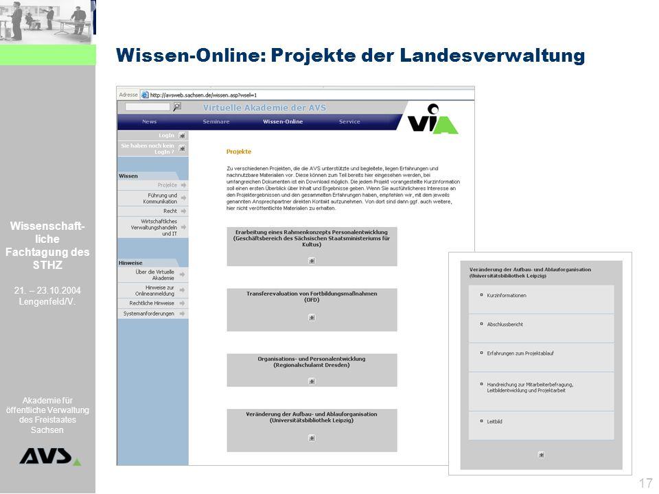 Wissenschaft- liche Fachtagung des STHZ 21. – 23.10.2004 Lengenfeld/V. Akademie für öffentliche Verwaltung des Freistaates Sachsen 17 Wissen-Online: P