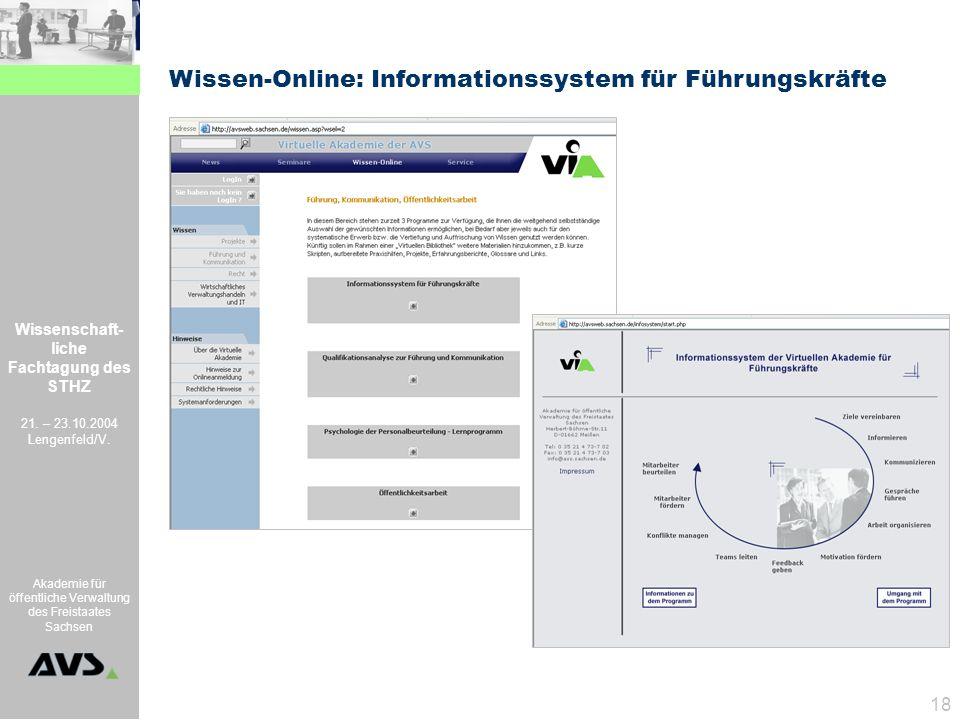 Wissenschaft- liche Fachtagung des STHZ 21. – 23.10.2004 Lengenfeld/V. Akademie für öffentliche Verwaltung des Freistaates Sachsen 18 Wissen-Online: I