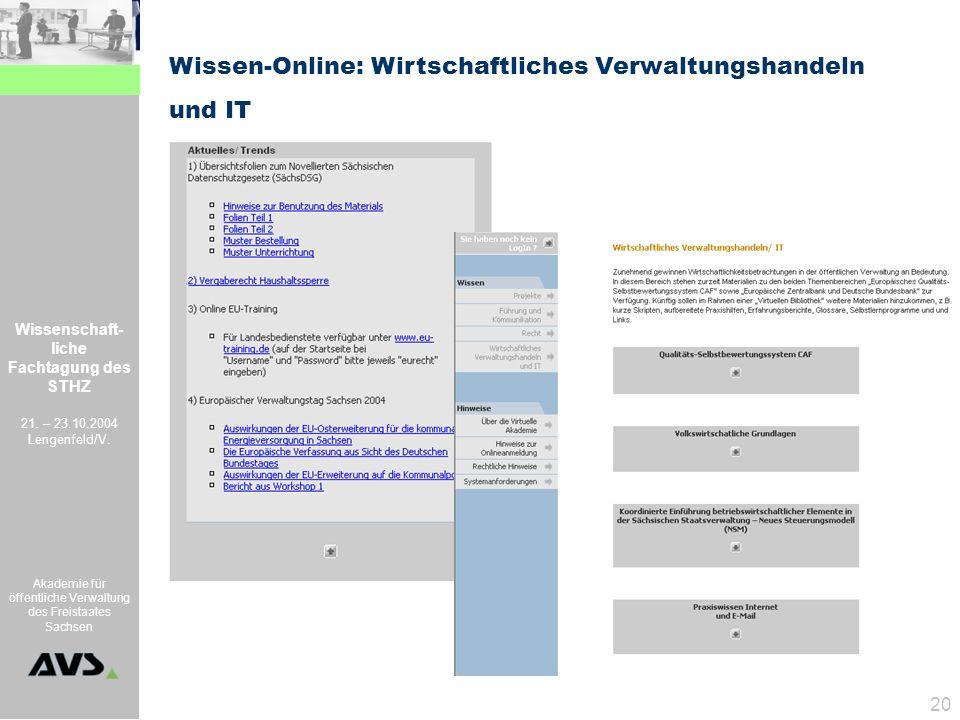 Wissenschaft- liche Fachtagung des STHZ 21. – 23.10.2004 Lengenfeld/V. Akademie für öffentliche Verwaltung des Freistaates Sachsen 20 Wissen-Online: W