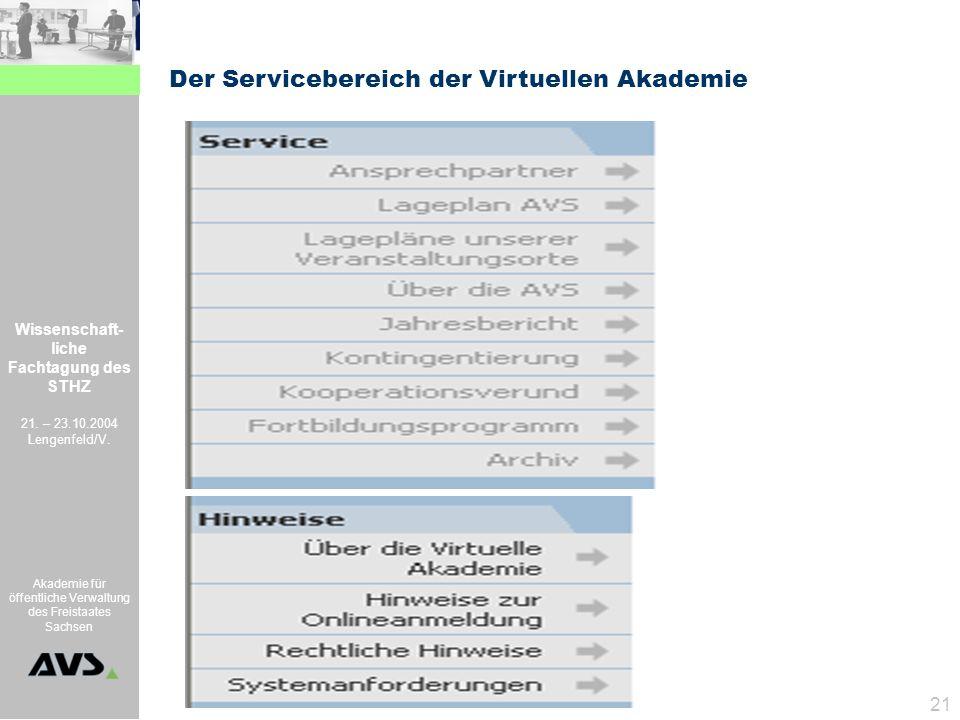 Wissenschaft- liche Fachtagung des STHZ 21. – 23.10.2004 Lengenfeld/V. Akademie für öffentliche Verwaltung des Freistaates Sachsen 21 Der Serviceberei