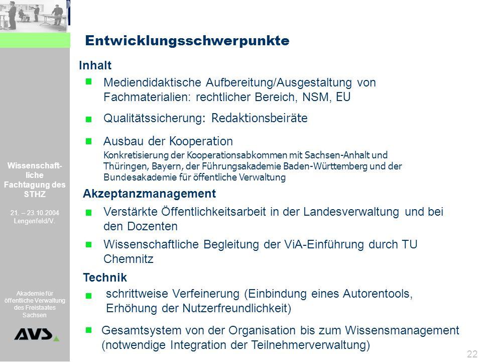 Wissenschaft- liche Fachtagung des STHZ 21. – 23.10.2004 Lengenfeld/V. Akademie für öffentliche Verwaltung des Freistaates Sachsen 22 Ausbau der Koope