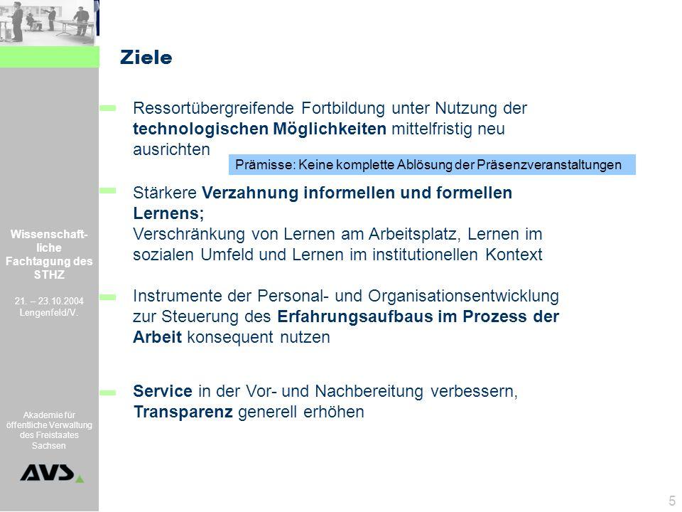 Wissenschaft- liche Fachtagung des STHZ 21. – 23.10.2004 Lengenfeld/V. Akademie für öffentliche Verwaltung des Freistaates Sachsen 5 Prämisse: Keine k