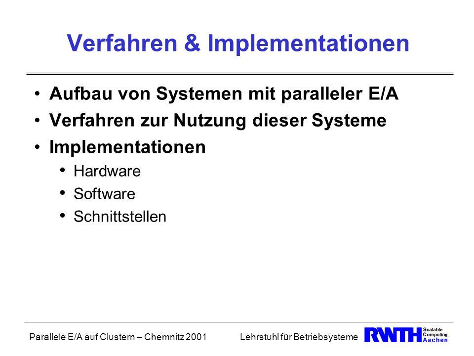Parallele E/A auf Clustern – Chemnitz 2001Lehrstuhl für Betriebsysteme Verfahren & Implementationen Aufbau von Systemen mit paralleler E/A Verfahren z