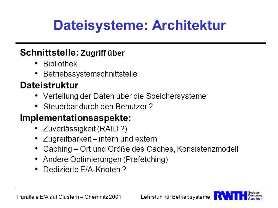 Parallele E/A auf Clustern – Chemnitz 2001Lehrstuhl für Betriebsysteme Dateisysteme: Architektur Schnittstelle: Zugriff über Bibliothek Betriebssystem