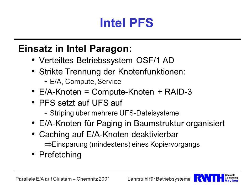 Parallele E/A auf Clustern – Chemnitz 2001Lehrstuhl für Betriebsysteme Intel PFS Einsatz in Intel Paragon: Verteiltes Betriebssystem OSF/1 AD Strikte