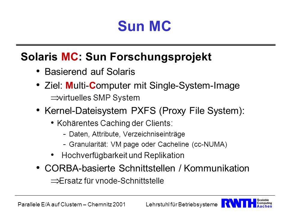 Parallele E/A auf Clustern – Chemnitz 2001Lehrstuhl für Betriebsysteme Sun MC Solaris MC: Sun Forschungsprojekt Basierend auf Solaris Ziel: Multi-Comp