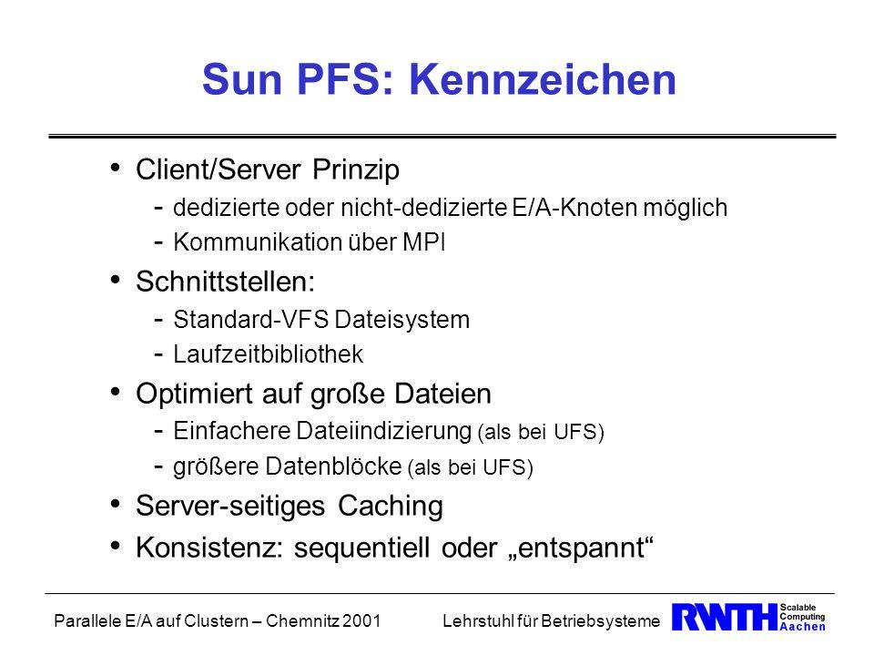 Parallele E/A auf Clustern – Chemnitz 2001Lehrstuhl für Betriebsysteme Sun PFS: Kennzeichen Client/Server Prinzip - dedizierte oder nicht-dedizierte E